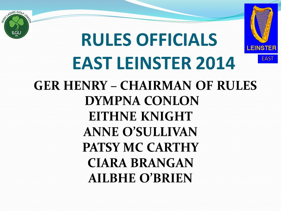 RULES OFFICIALS EAST LEINSTER 2014