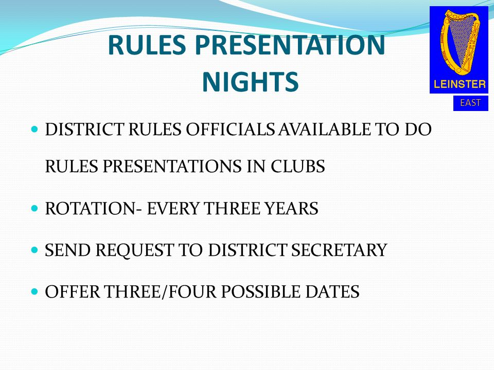 RULES PRESENTATION NIGHTS