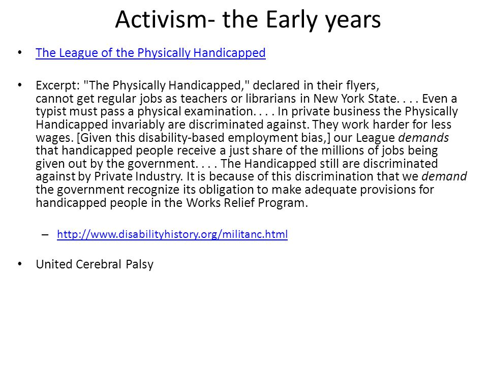 Activism- the Early years