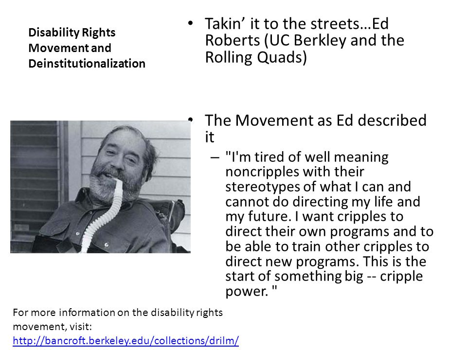 Disability Rights Movement and Deinstitutionalization