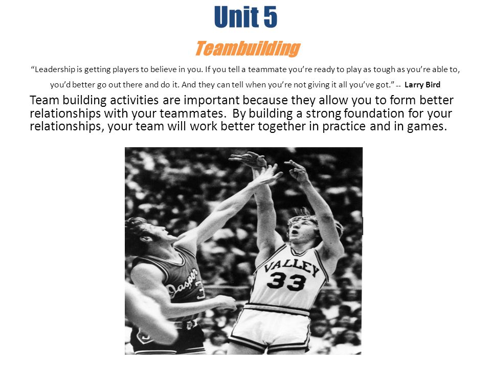 Unit 5 Teambuilding Leadership is getting players to believe in you