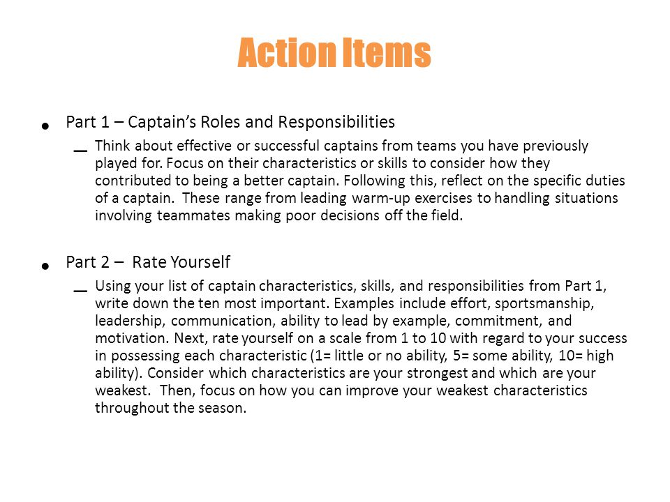 Action Items Part 1 – Captain's Roles and Responsibilities