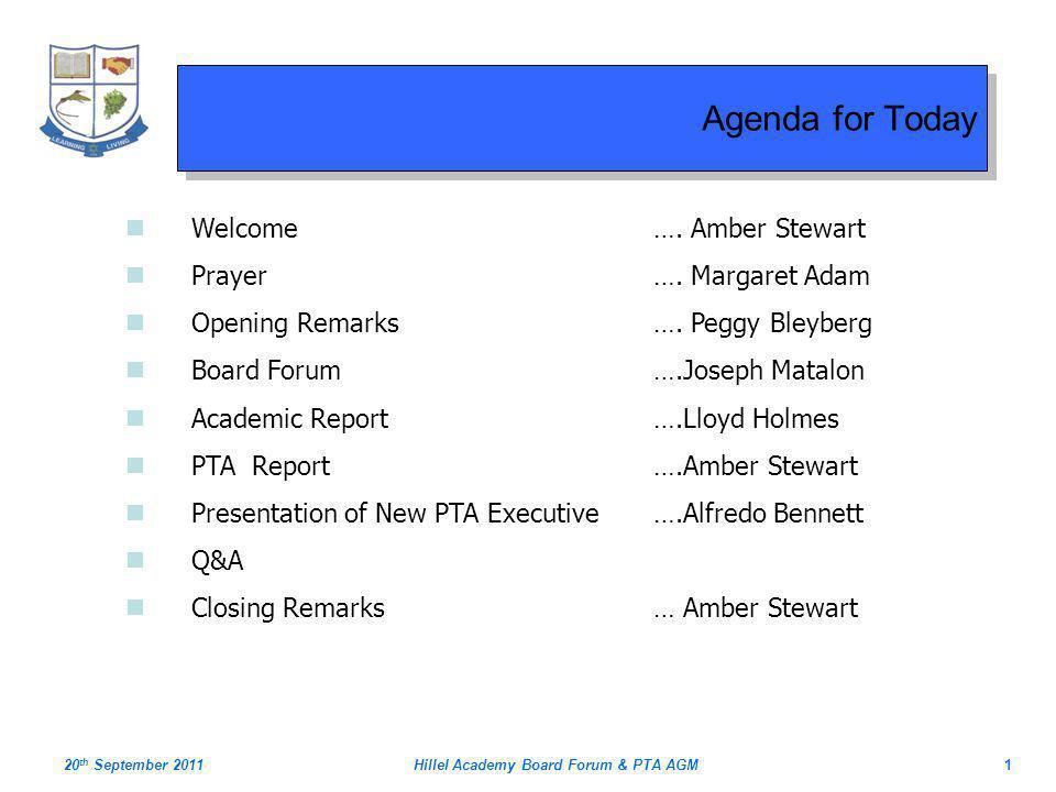Hillel Academy Board Forum & PTA AGM