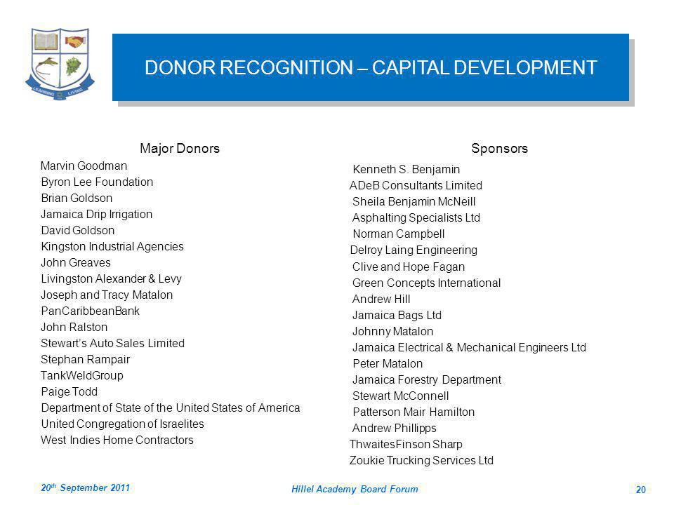 DONOR RECOGNITION – CAPITAL DEVELOPMENT