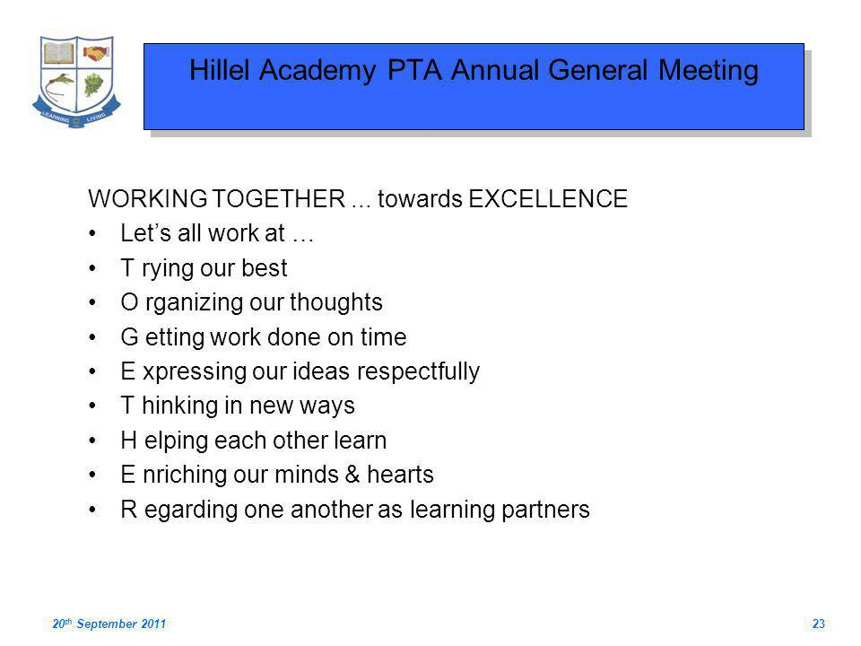 Hillel Academy PTA Annual General Meeting