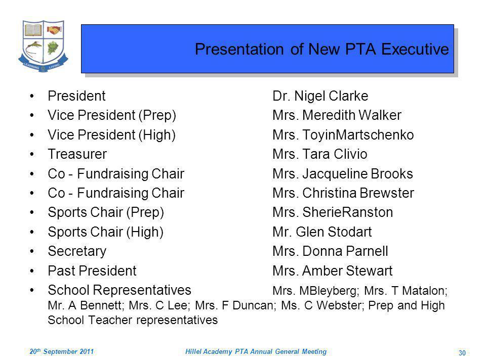 Presentation of New PTA Executive