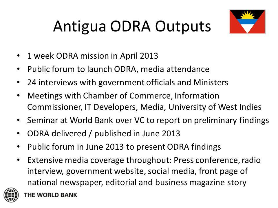 Antigua ODRA Outputs 1 week ODRA mission in April 2013