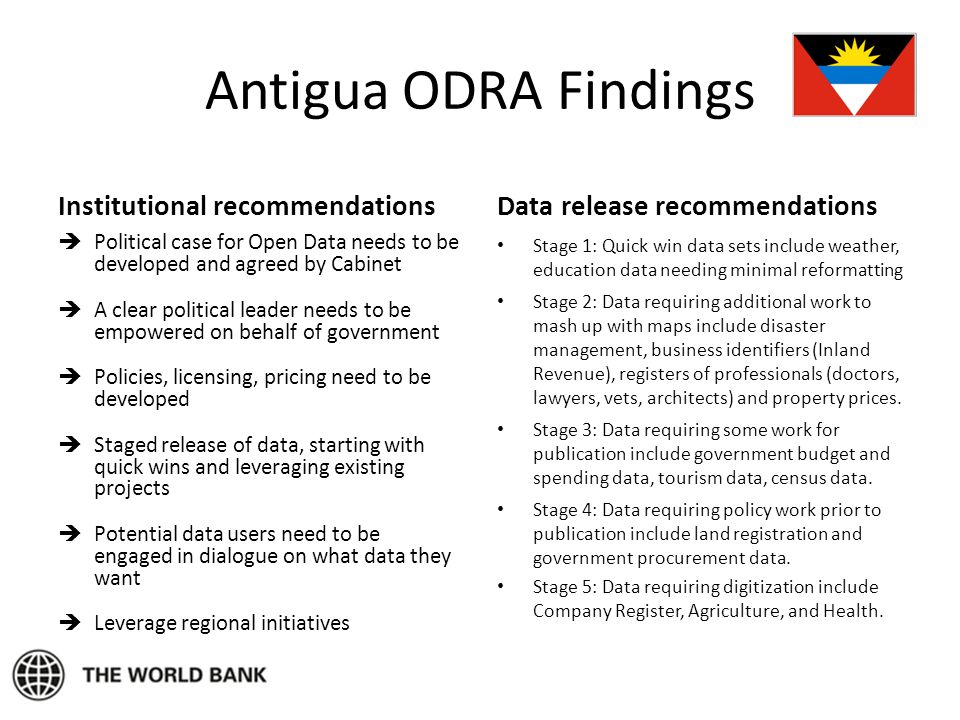 Antigua ODRA Findings Institutional recommendations