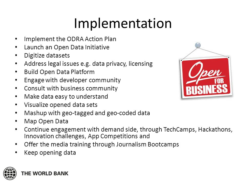 Implementation Implement the ODRA Action Plan