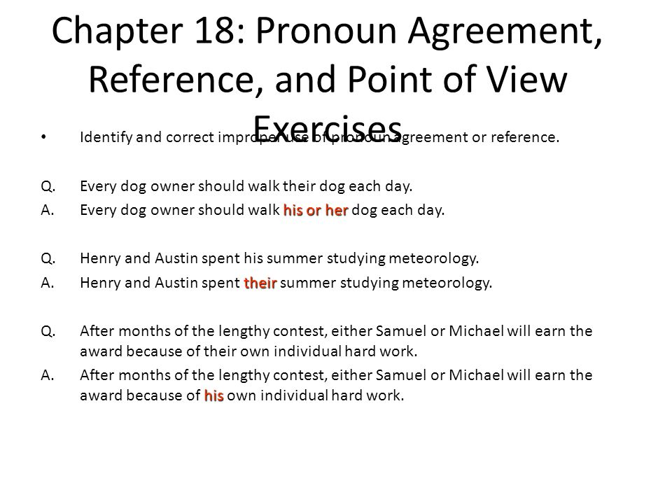 Chapter 18: Pronoun Agreement, Reference, and Point of View Exercises