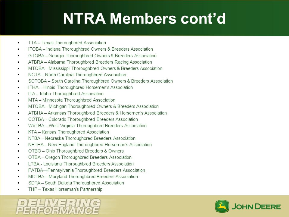 NTRA Members cont'd TTA – Texas Thoroughbred Association