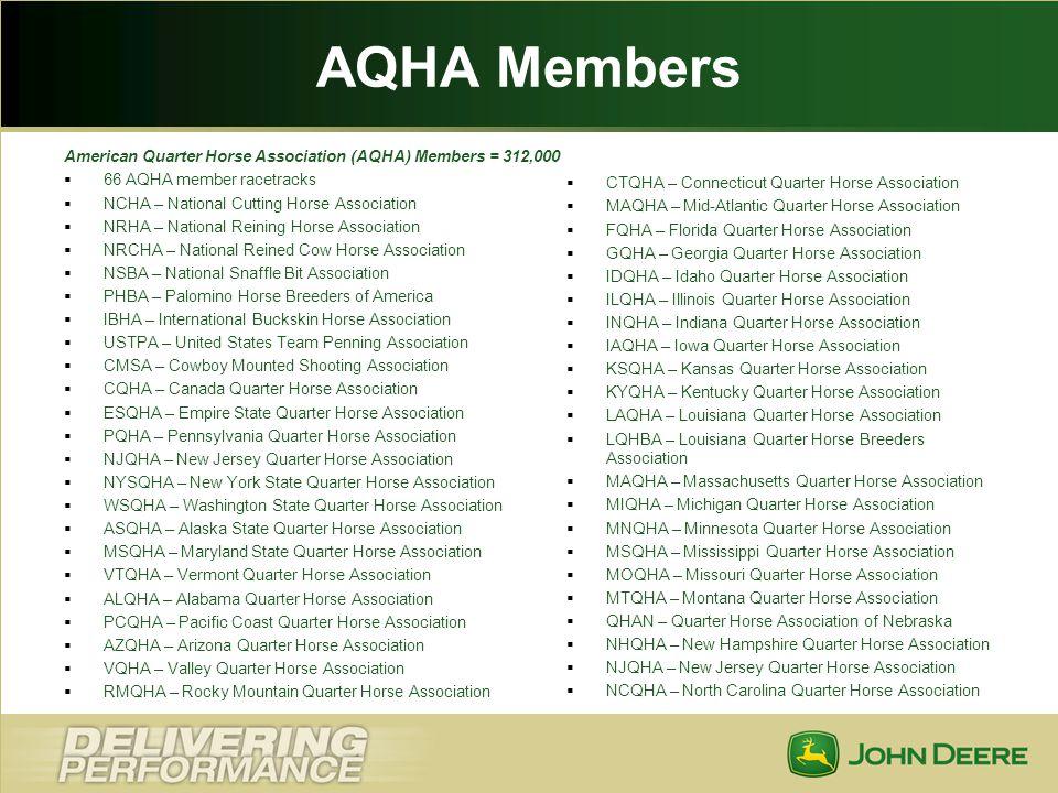 AQHA Members American Quarter Horse Association (AQHA) Members = 312,000. 66 AQHA member racetracks.