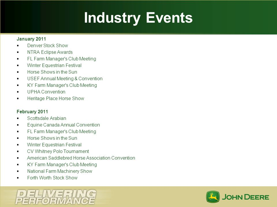 Industry Events January 2011 Denver Stock Show NTRA Eclipse Awards