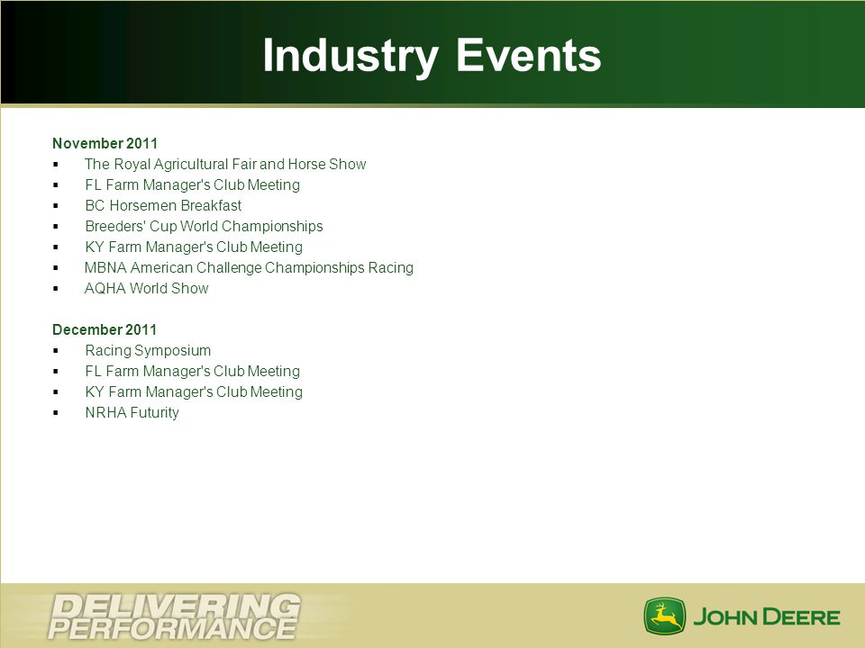 Industry Events November 2011