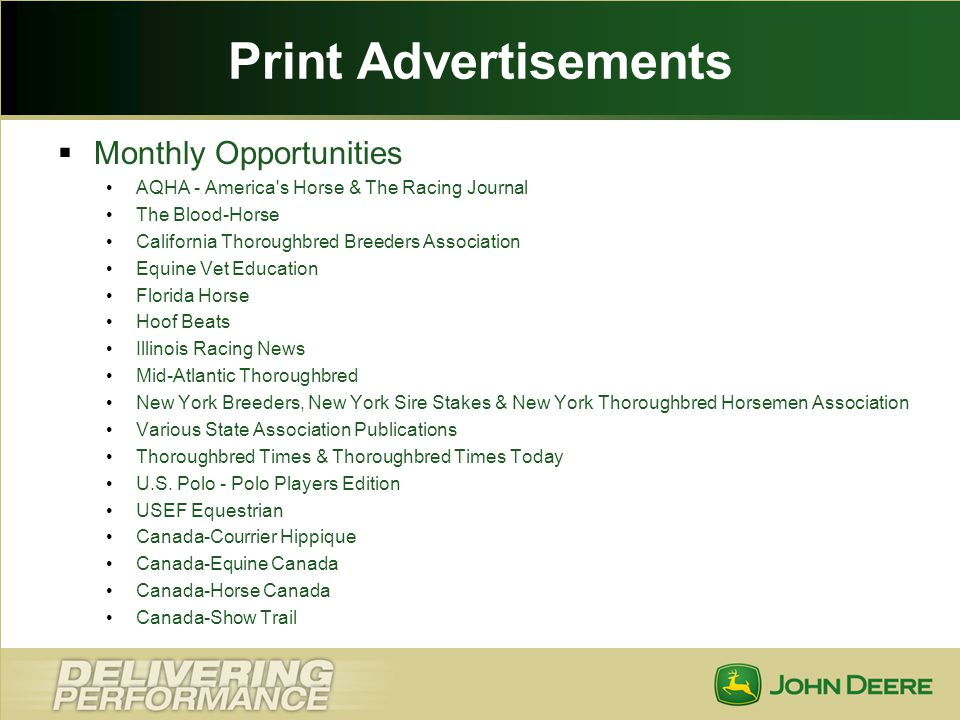 Print Advertisements Monthly Opportunities