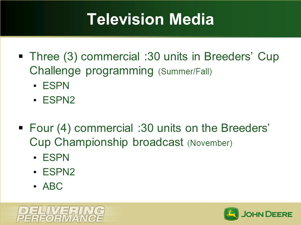Television Media Three (3) commercial :30 units in Breeders' Cup Challenge programming (Summer/Fall)