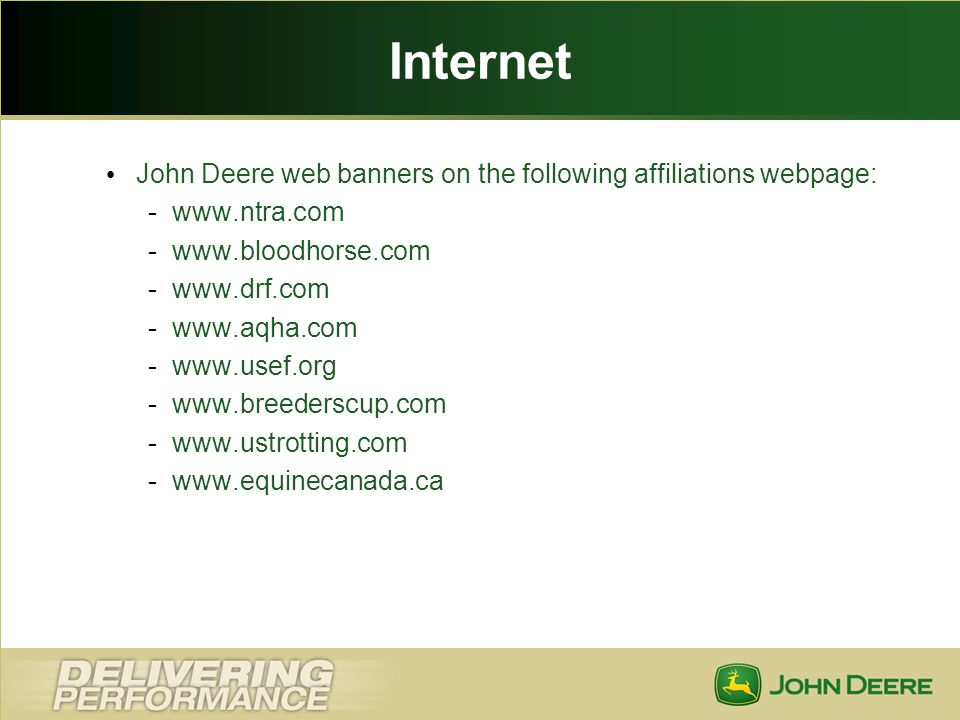 Internet John Deere web banners on the following affiliations webpage: