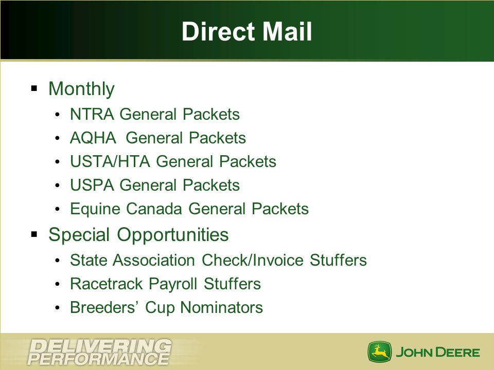 Direct Mail Monthly Special Opportunities NTRA General Packets