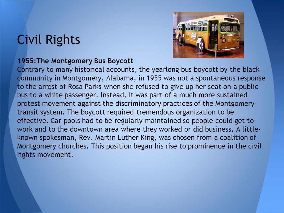 Civil Rights 1955:The Montgomery Bus Boycott