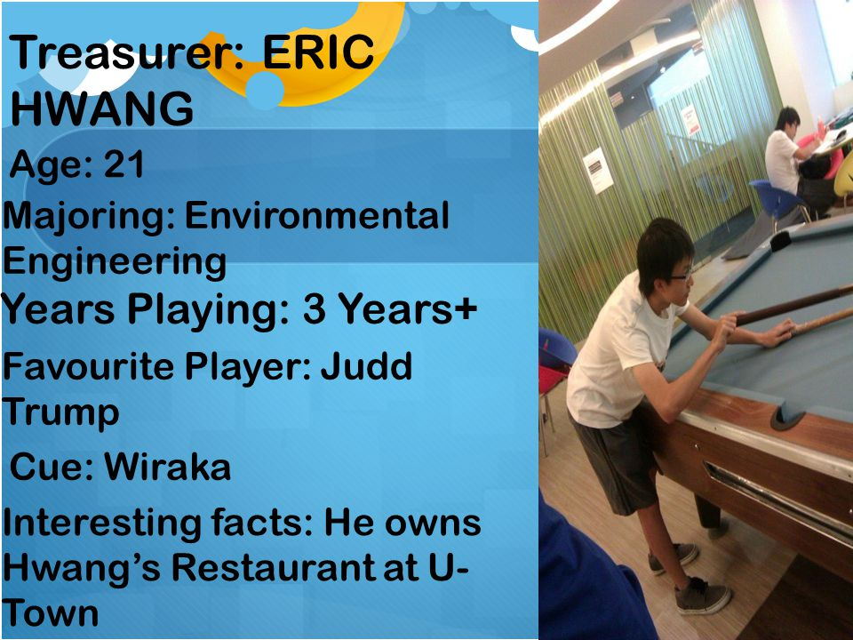 Treasurer: ERIC HWANG Years Playing: 3 Years+ Age: 21