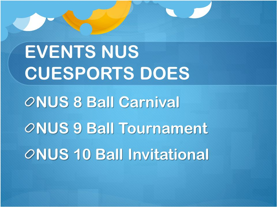 EVENTS NUS CUESPORTS DOES