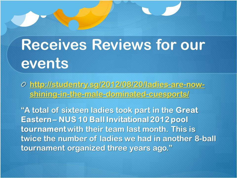 Receives Reviews for our events