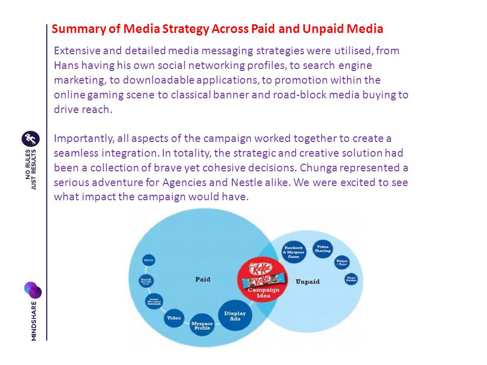 Summary of Media Strategy Across Paid and Unpaid Media