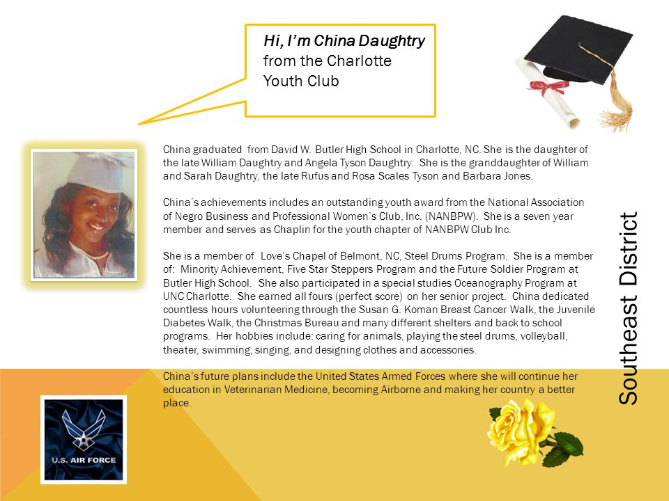 Hi, I'm China Daughtry from the Charlotte Youth Club