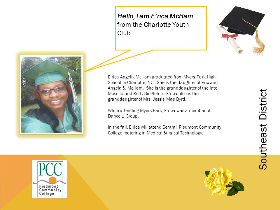 Hello, I am E'rica McHam from the Charlotte Youth Club