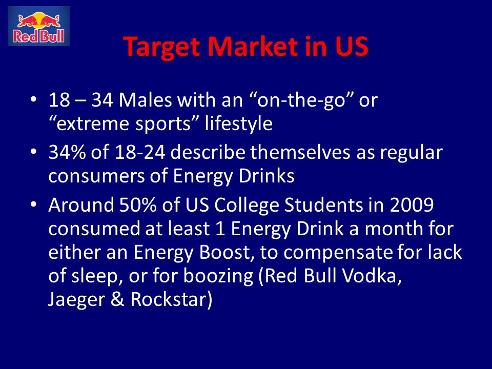 Target Market in US 18 – 34 Males with an on-the-go or extreme sports lifestyle.