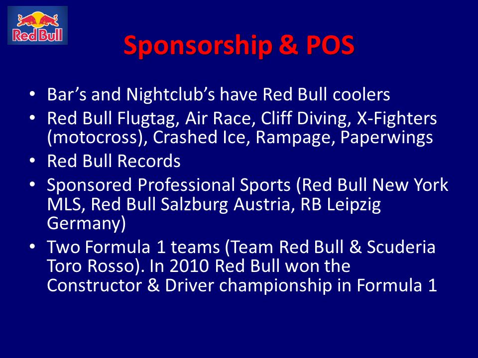 Sponsorship & POS Bar's and Nightclub's have Red Bull coolers