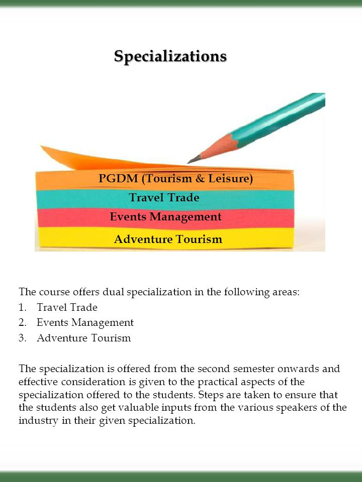 Specializations PGDM (Tourism & Leisure) Travel Trade