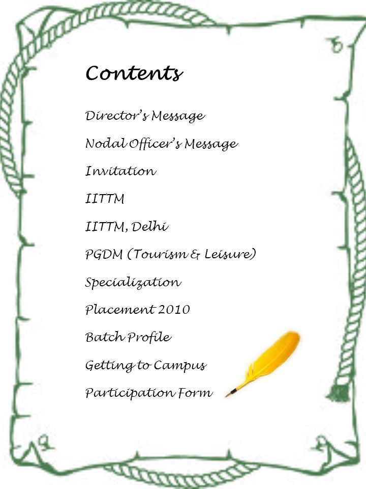 Contents Director's Message Nodal Officer's Message Invitation IITTM