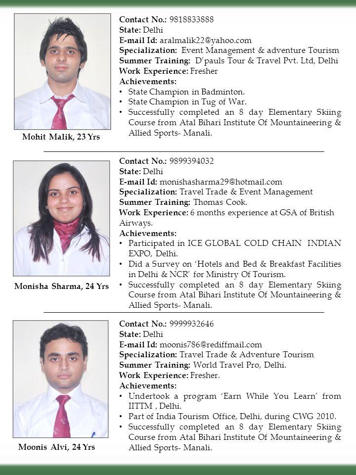 Contact No.: 9818833888 State: Delhi. E-mail Id: aralmalik22@yahoo.com. Specialization: Event Management & adventure Tourism.