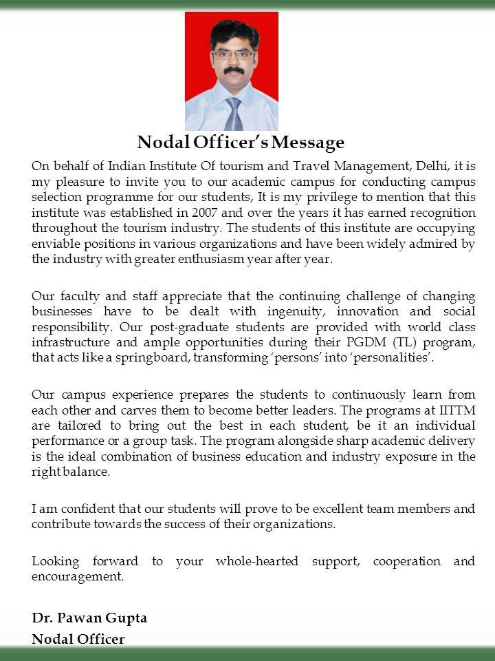 Nodal Officer's Message