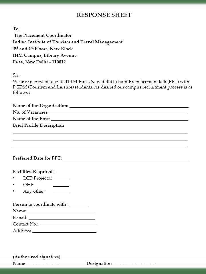 RESPONSE SHEET To, The Placement Coordinator