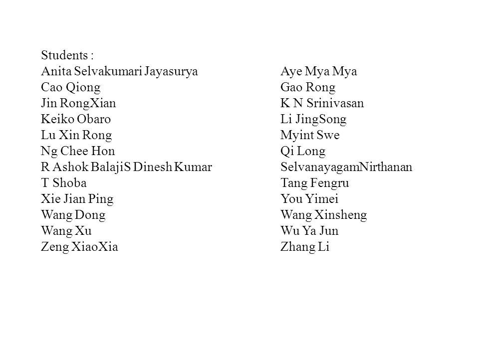 Students : Anita Selvakumari Jayasurya Aye Mya Mya. Cao Qiong Gao Rong. Jin RongXian K N Srinivasan.