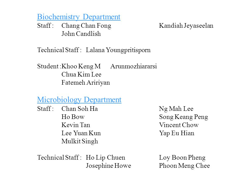 Biochemistry Department
