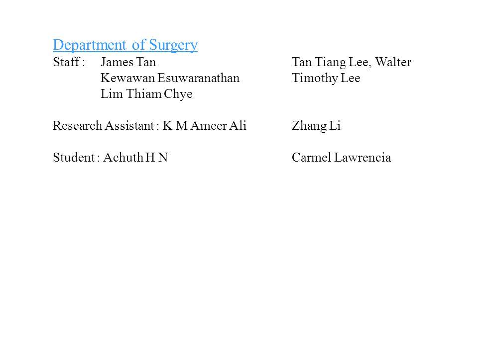 Department of Surgery Staff : James Tan Tan Tiang Lee, Walter