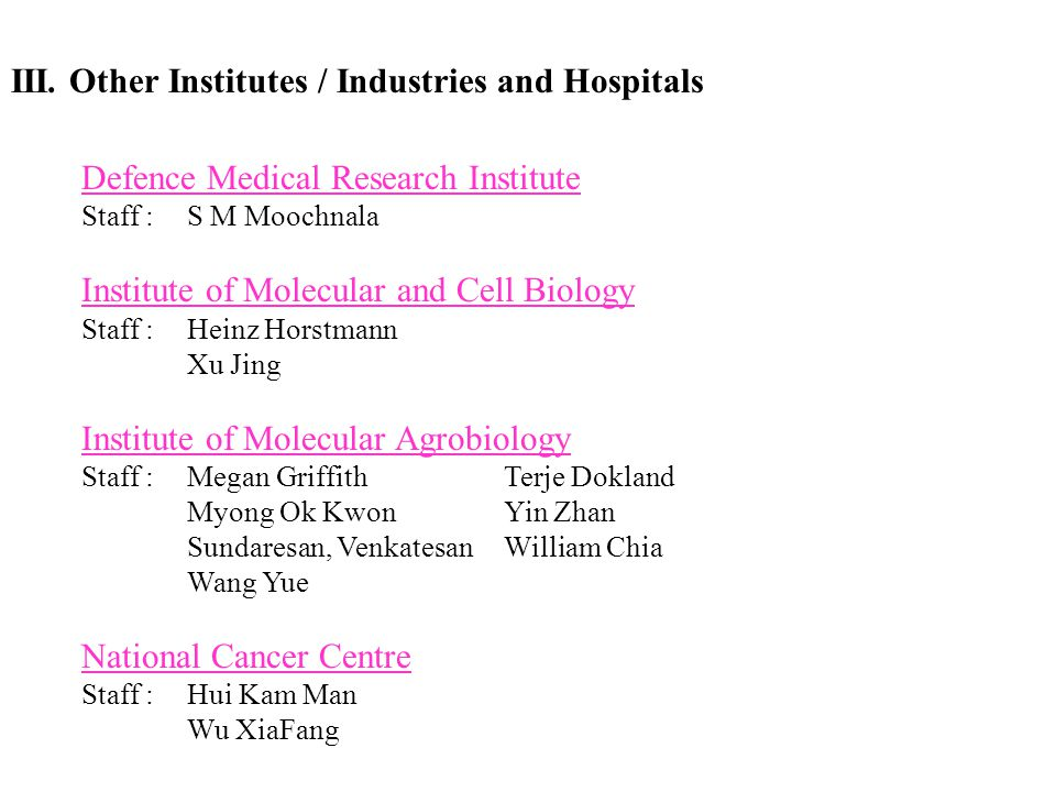 III. Other Institutes / Industries and Hospitals
