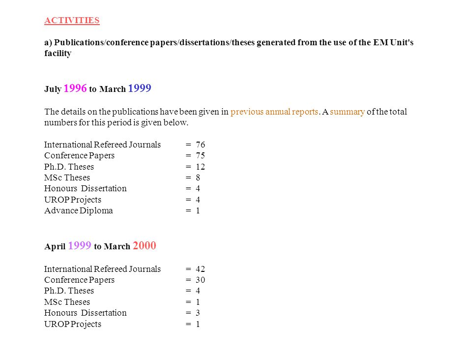 ACTIVITIES a) Publications/conference papers/dissertations/theses generated from the use of the EM Unit s facility.