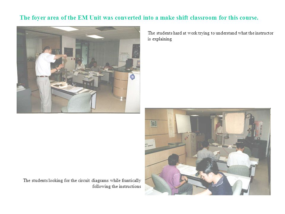 The foyer area of the EM Unit was converted into a make shift classroom for this course.