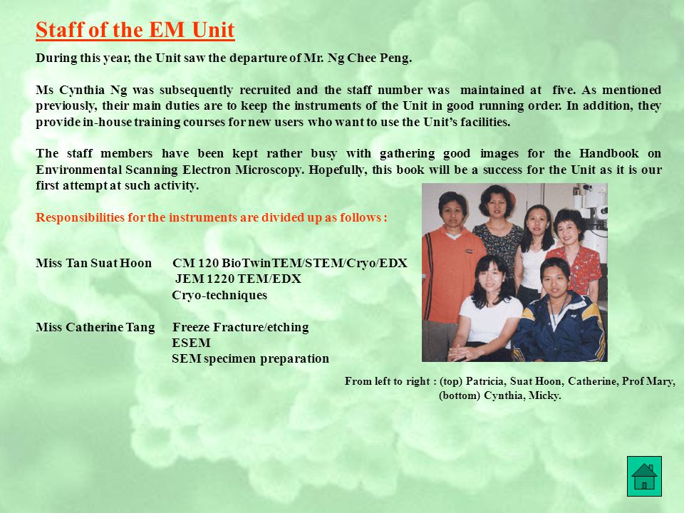 Staff of the EM Unit During this year, the Unit saw the departure of Mr. Ng Chee Peng.