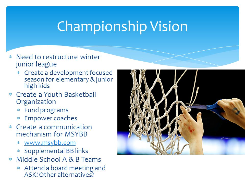 Championship Vision Need to restructure winter junior league
