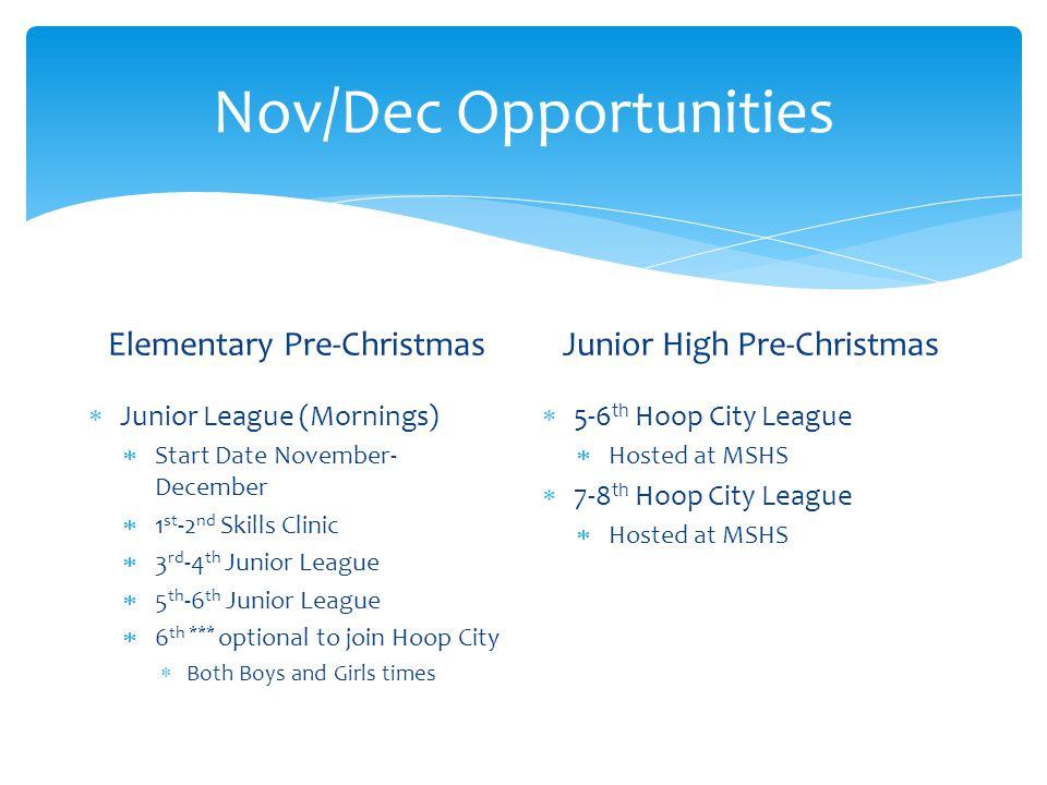 Nov/Dec Opportunities