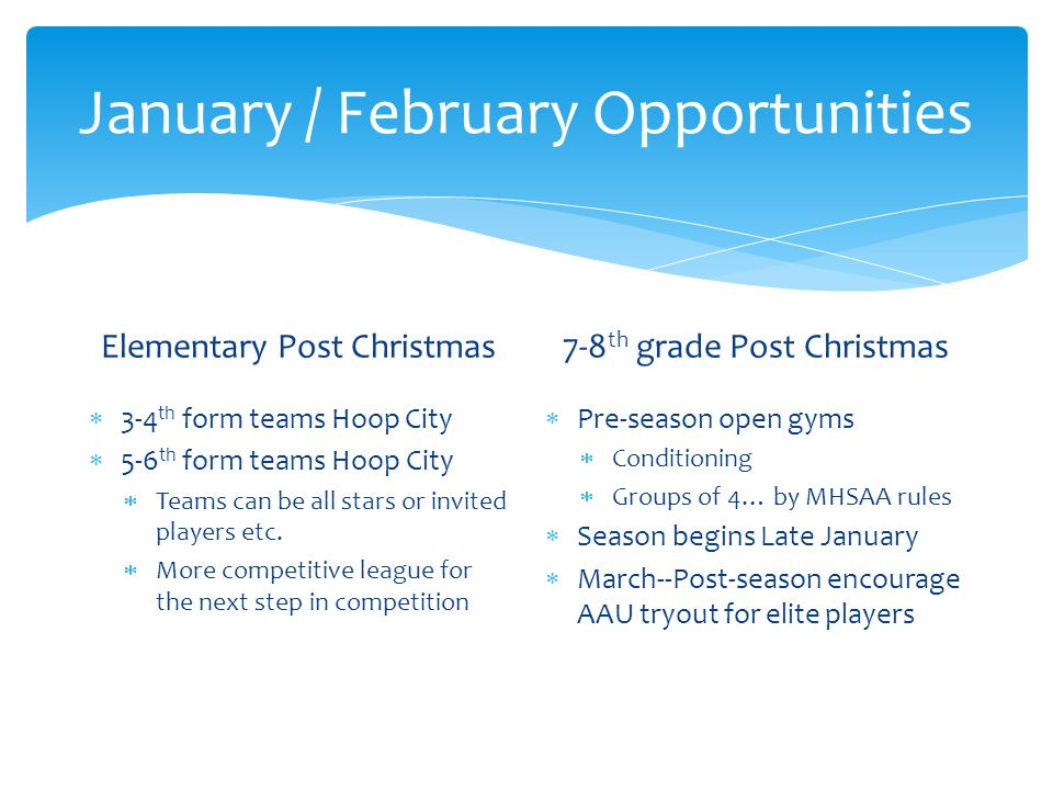 January / February Opportunities