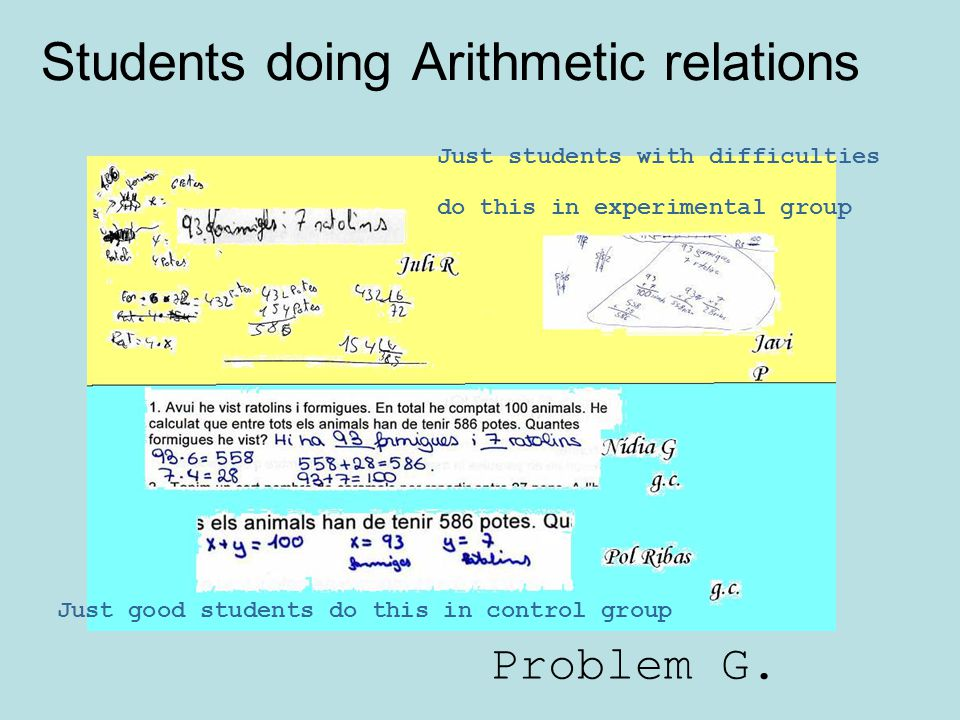 Students doing Arithmetic relations
