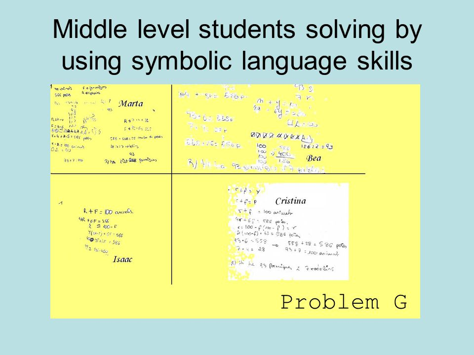 Middle level students solving by using symbolic language skills