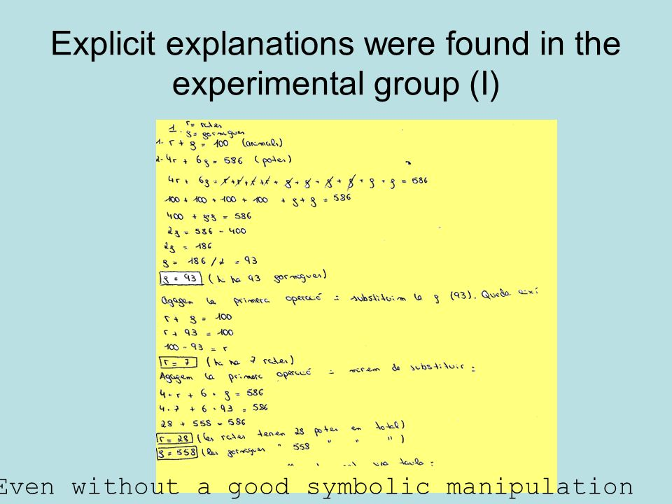 Explicit explanations were found in the experimental group (I)