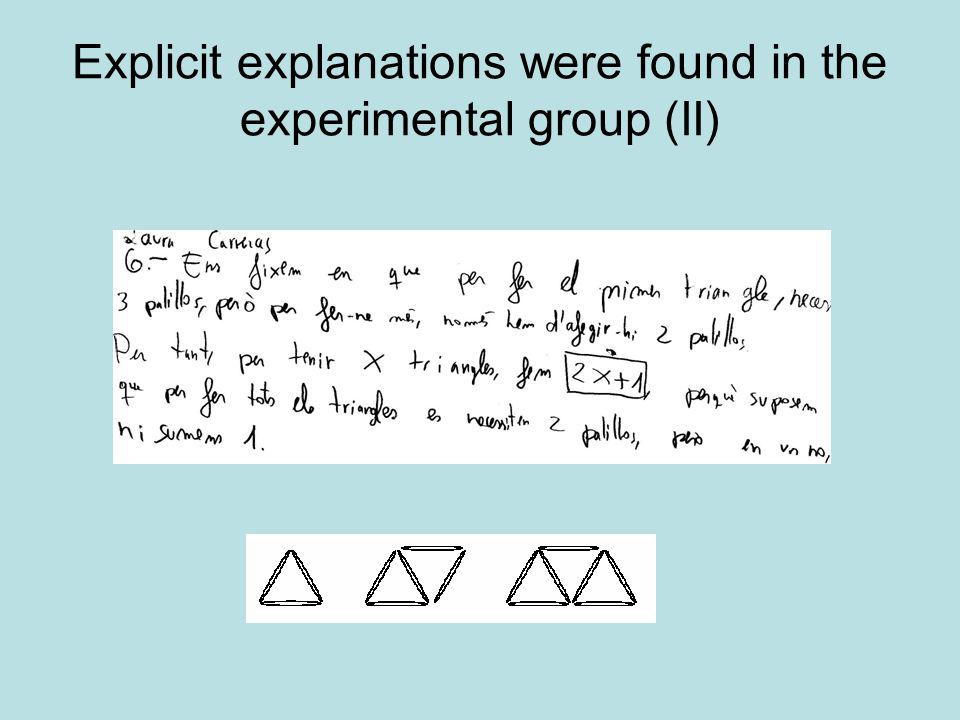 Explicit explanations were found in the experimental group (II)